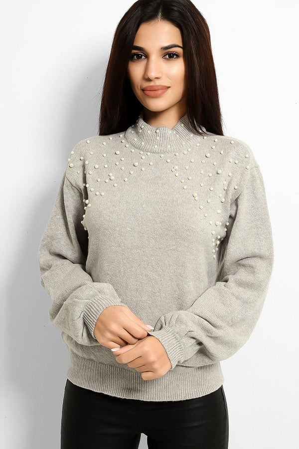 Grey Pearls Embellished Flat Knit Batwing Pullover - SinglePrice