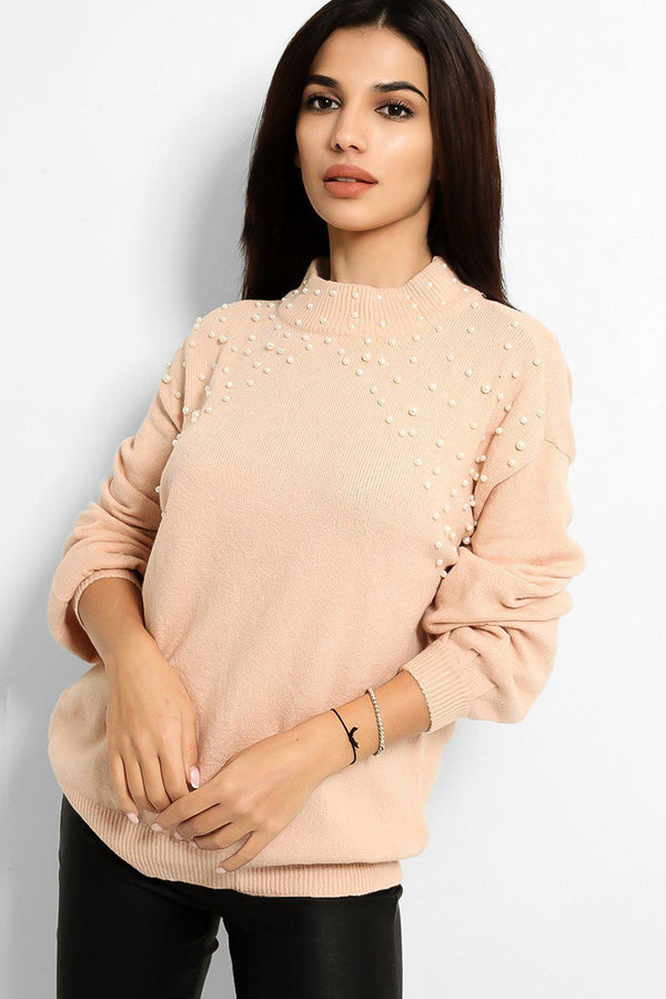 Pink Pearls Embellished Flat Knit Batwing Pullover - SinglePrice