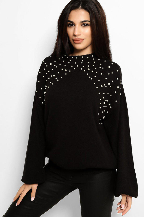 Black Pearls Embellished Flat Knit Batwing Pullover - SinglePrice