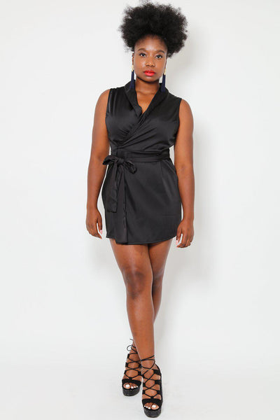 Sleeveless Satin Blazer Dress-SinglePrice