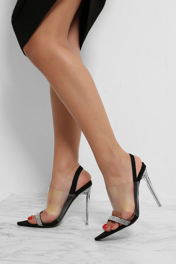 Black Crystals And Perspex Straps Sling Back Stiletto Sandal Heels-SinglePrice