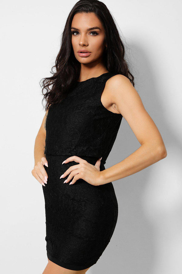 Black Delicate Floral Lace Mini Sleeveless Dress-SinglePrice
