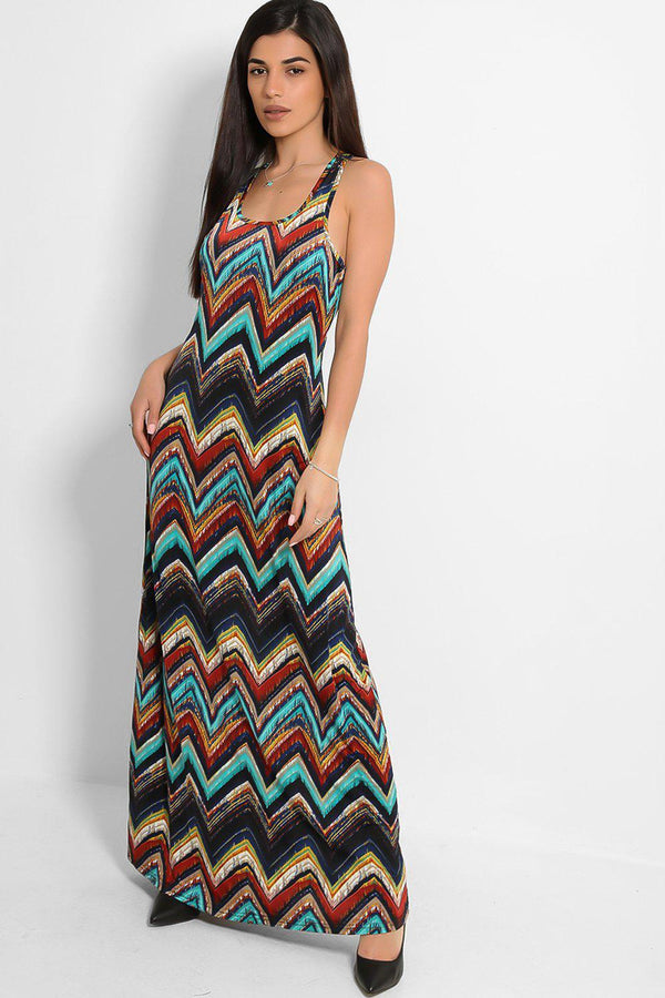 Aqua Zig Zag Print Slinky Sleeveless Maxi Dress-SinglePrice