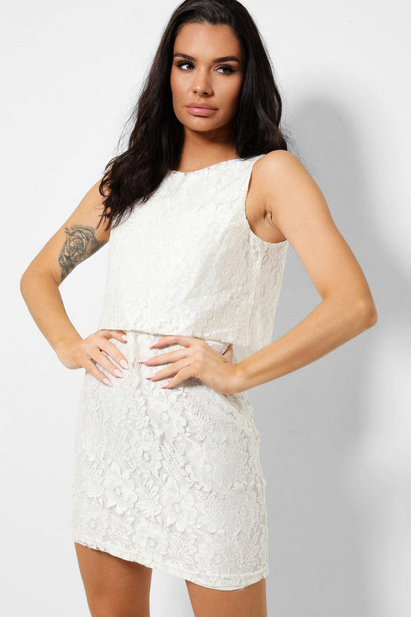 White Delicate Floral Lace Mini Sleeveless Dress-SinglePrice