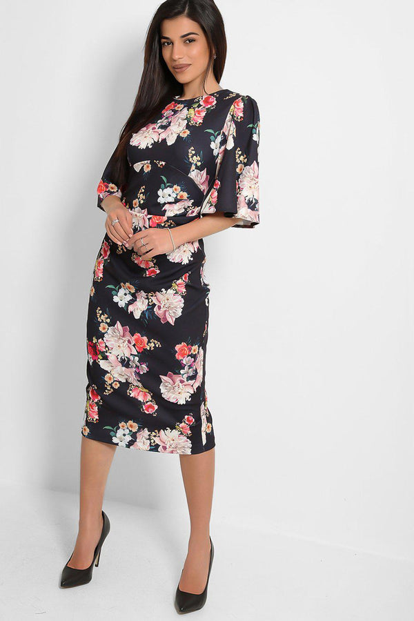 Navy Floral Bouquet Flute Sleeves Midi Dress-SinglePrice