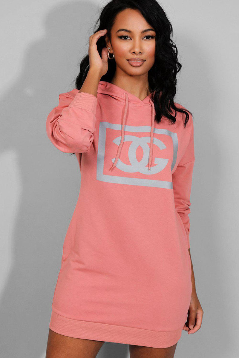 Pink Reflective Logo Hooded Sweatshirt Dress - SinglePrice