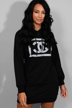 Black Reflective Logo Hooded Sweatshirt Dress - SinglePrice