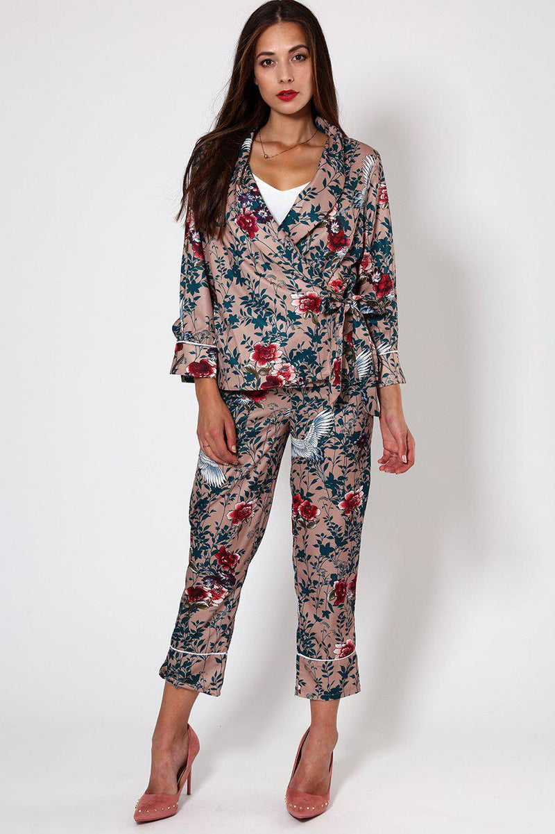 Beige Floral Printed Wrapover Pyjama Style Blouse - SinglePrice