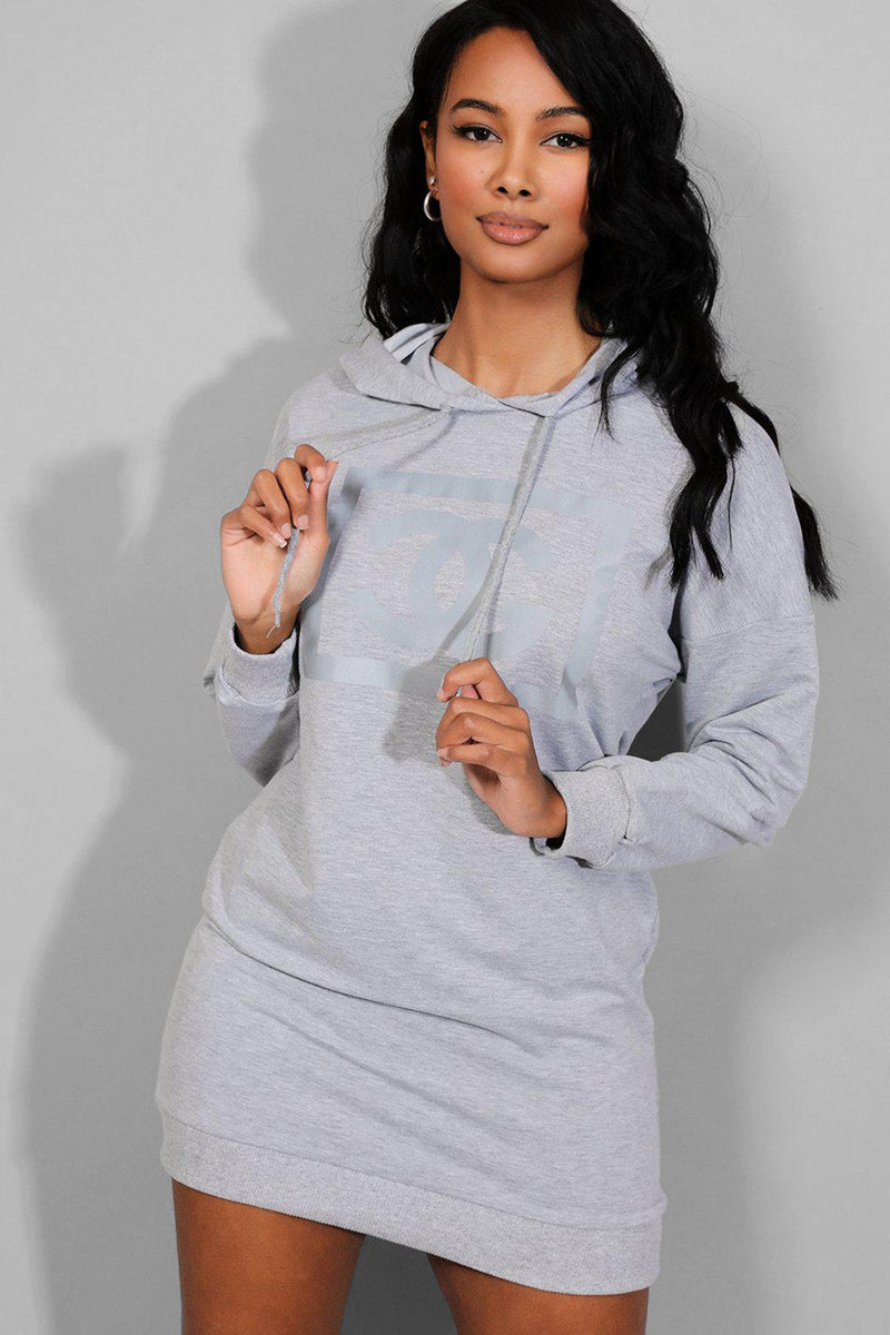 Grey Reflective Logo Hooded Sweatshirt Dress - SinglePrice