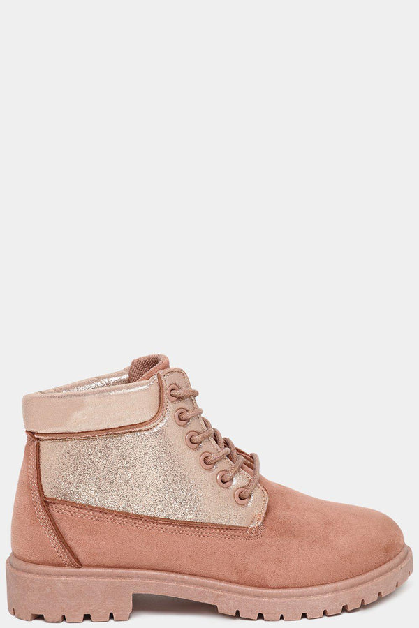 Pink Shimmer Panels Vegan Suede Ankle Boots-SinglePrice