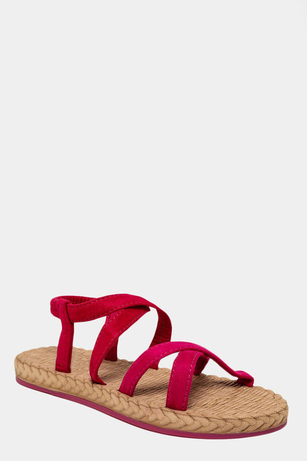 Hot Pink Crossed Elastic Straps Faux Espadrille Sandals - SinglePrice