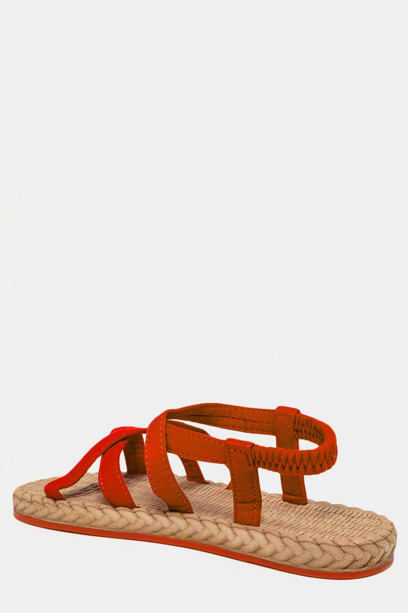 Orange Crossed Elastic Straps Faux Espadrille Sandals - SinglePrice