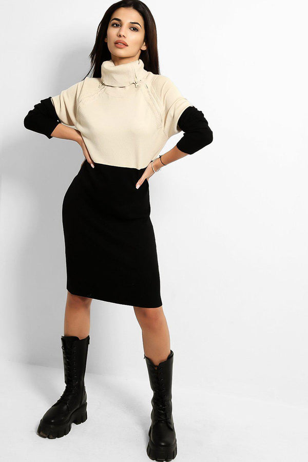 Beige Black Zipped High Neck Knitted Dress - SinglePrice