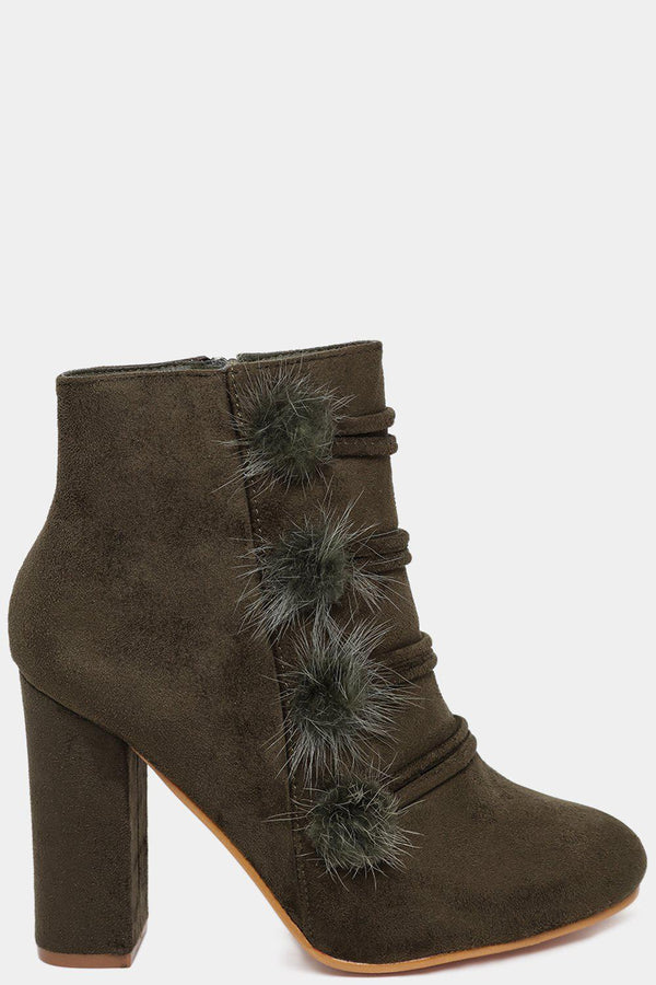 Army Green Faux Fur Pom Pom Details Heeled Ankle Boots-SinglePrice