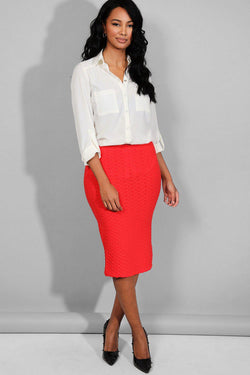 Red Ruched Texture Midi Pencil Skirt - SinglePrice