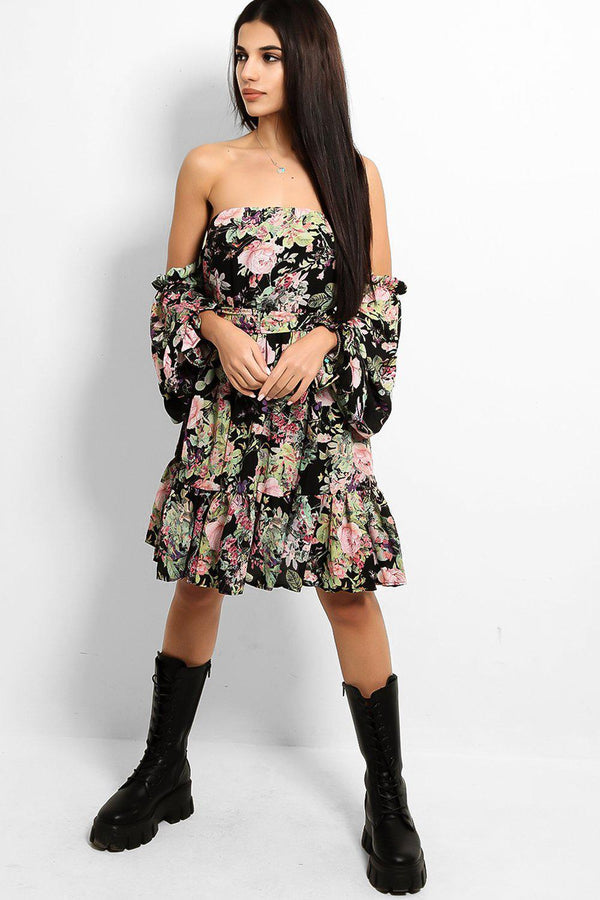 Multicolour Vintage Rose Print Bardot Dress - SinglePrice
