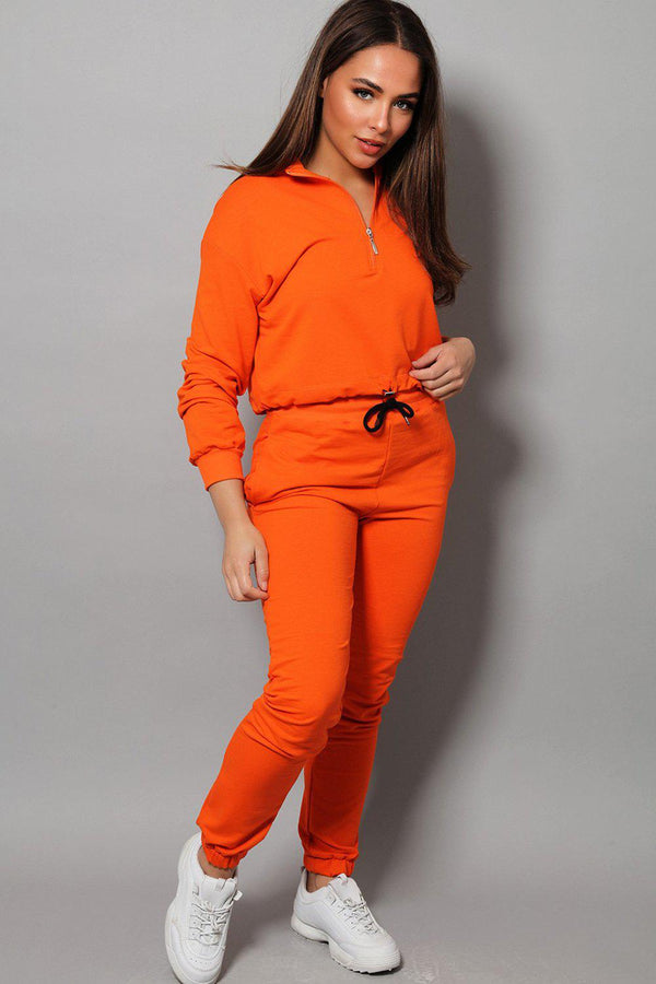 Orange High Neck Drawstring Top 2 Piece Tracksuit - SinglePrice