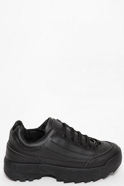 Stitch Details Chunky Cleated Platform Black Faux Leather Trainer-SinglePrice