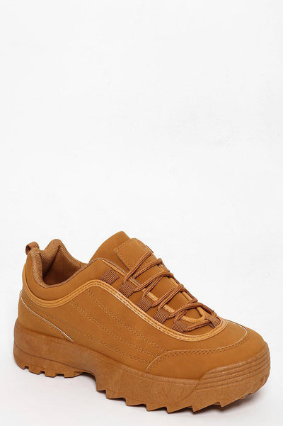 Stitch Details Chunky Cleated Platform Camel Faux Leather Trainer-SinglePrice