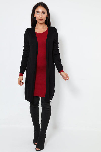 Fine Knit Back Seam Pocketed Black Cardigan-SinglePrice