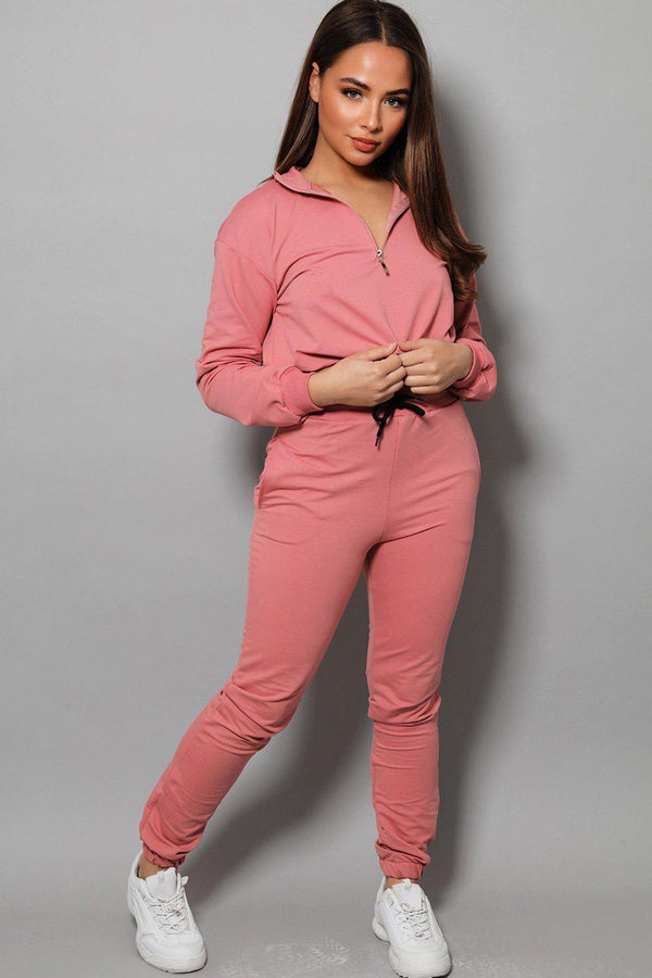Pink High Neck Drawstring Top 2 Piece Tracksuit - SinglePrice