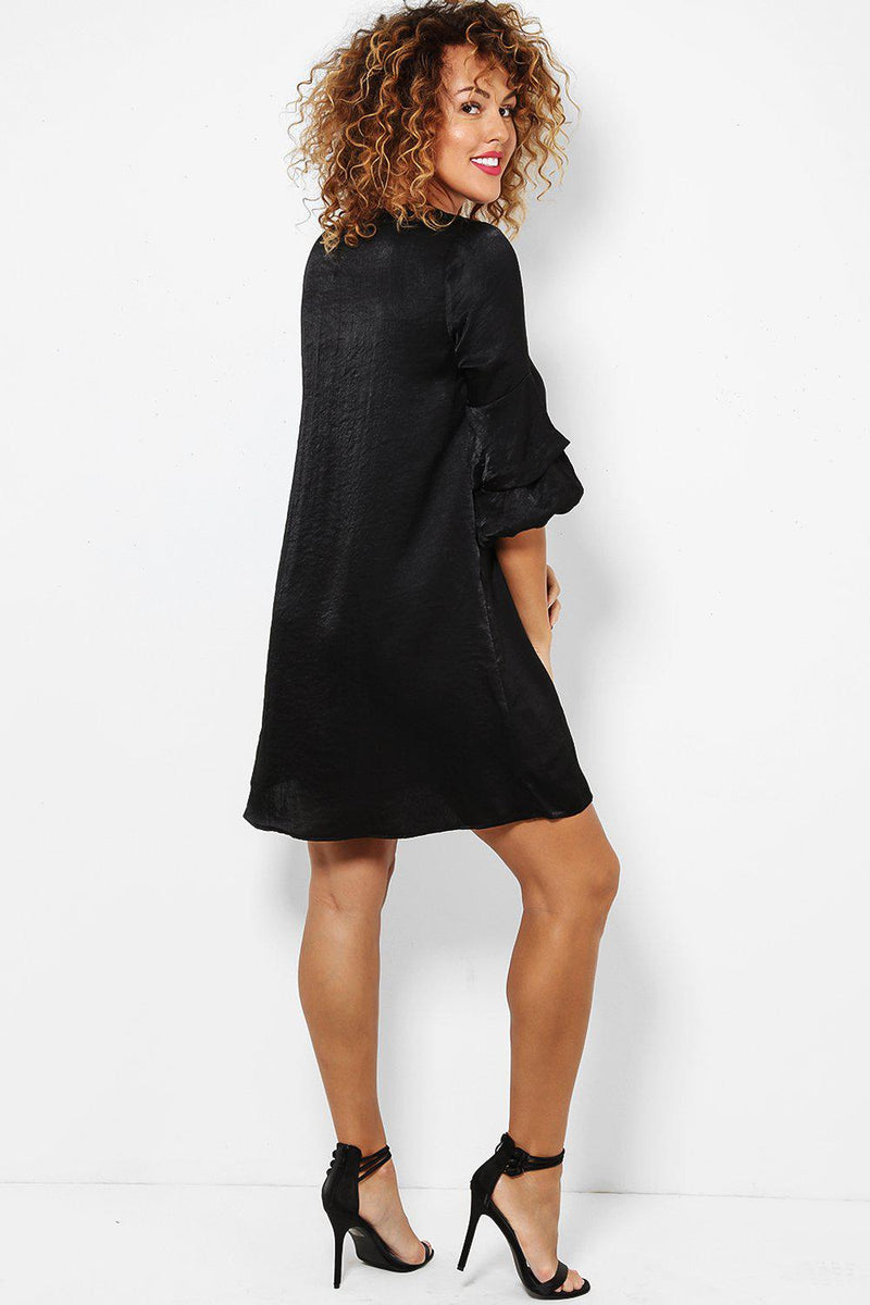 Black Puff Sleeves Crushed Satin Dress - SinglePrice