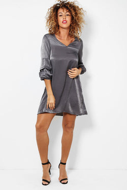 Grey Puff Sleeves Crushed Satin Dress - SinglePrice