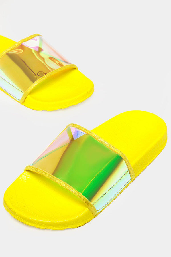 Neon Yellow Holographic Perspex Sliders - SinglePrice