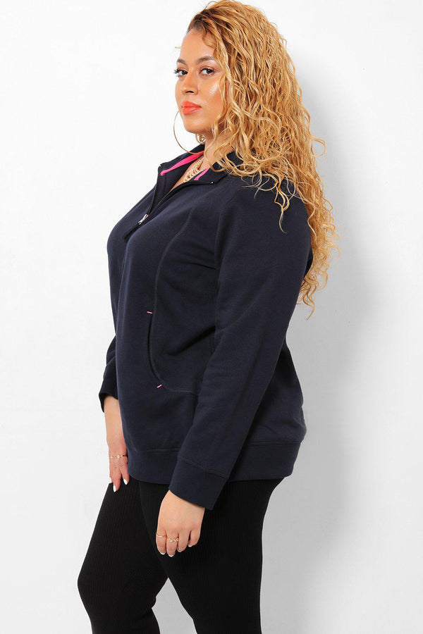 Pink Details Navy Fleece Jacket - SinglePrice