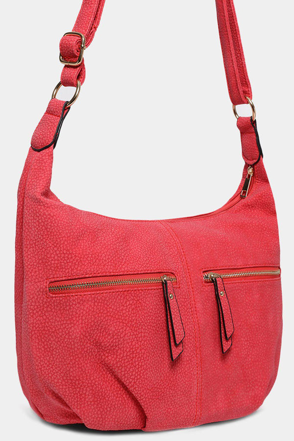 Red Dual Zip Saddle Hobo Bag-SinglePrice