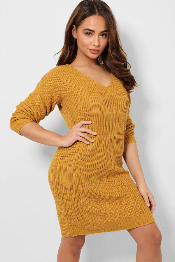 Back Cut Out Detail Mustard Knitted Dress-SinglePrice