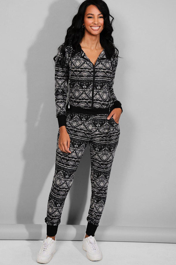 Grey Black Abstract Print Onesie