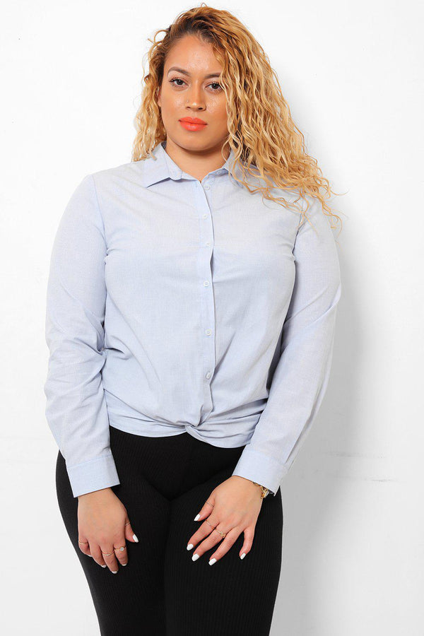 Twist Front Light Blue Shirt-SinglePrice