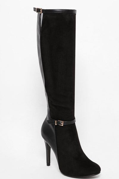 Ankle Buckle Black Stiletto Knee High Boots-SinglePrice