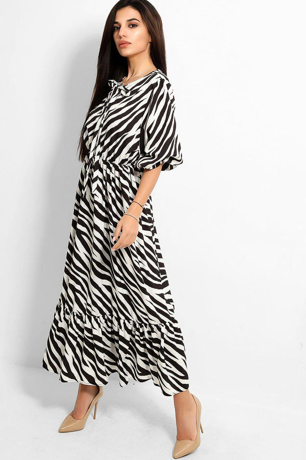 Black Zebra Print Neck Lace-Up Tiered Maxi Dress - SinglePrice
