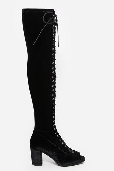 Black Velvet Laced Up Over The Knee Boots-SinglePrice