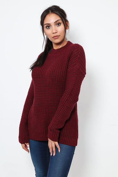 High Neck Inverted Knit Maroon Jumper-SinglePrice