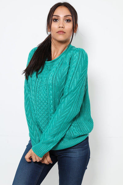 Classic Cable Knit Green Jumper-SinglePrice