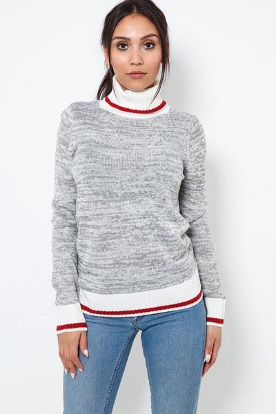Red Stripe Roll Neck Grey Speckled Knit Pullover-SinglePrice