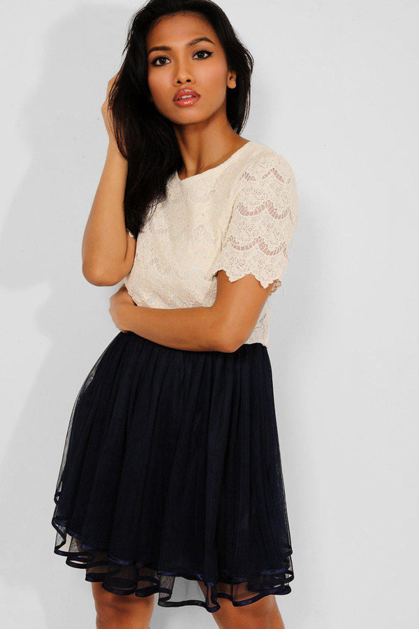 Cream Lace Navy Layered Mesh Skirt Dress - SinglePrice