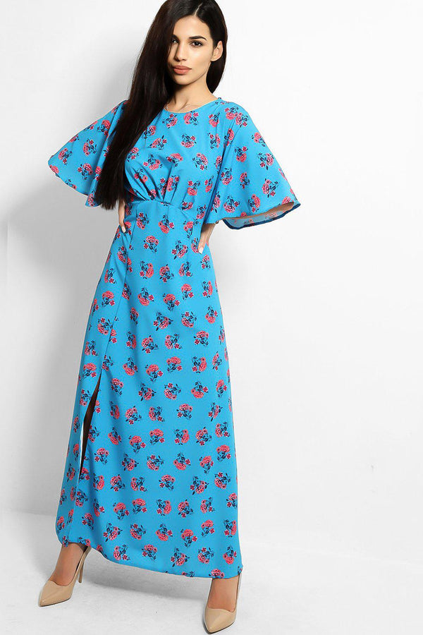 Blue Roses Print Thigh Split Maxi Tea Dress - SinglePrice