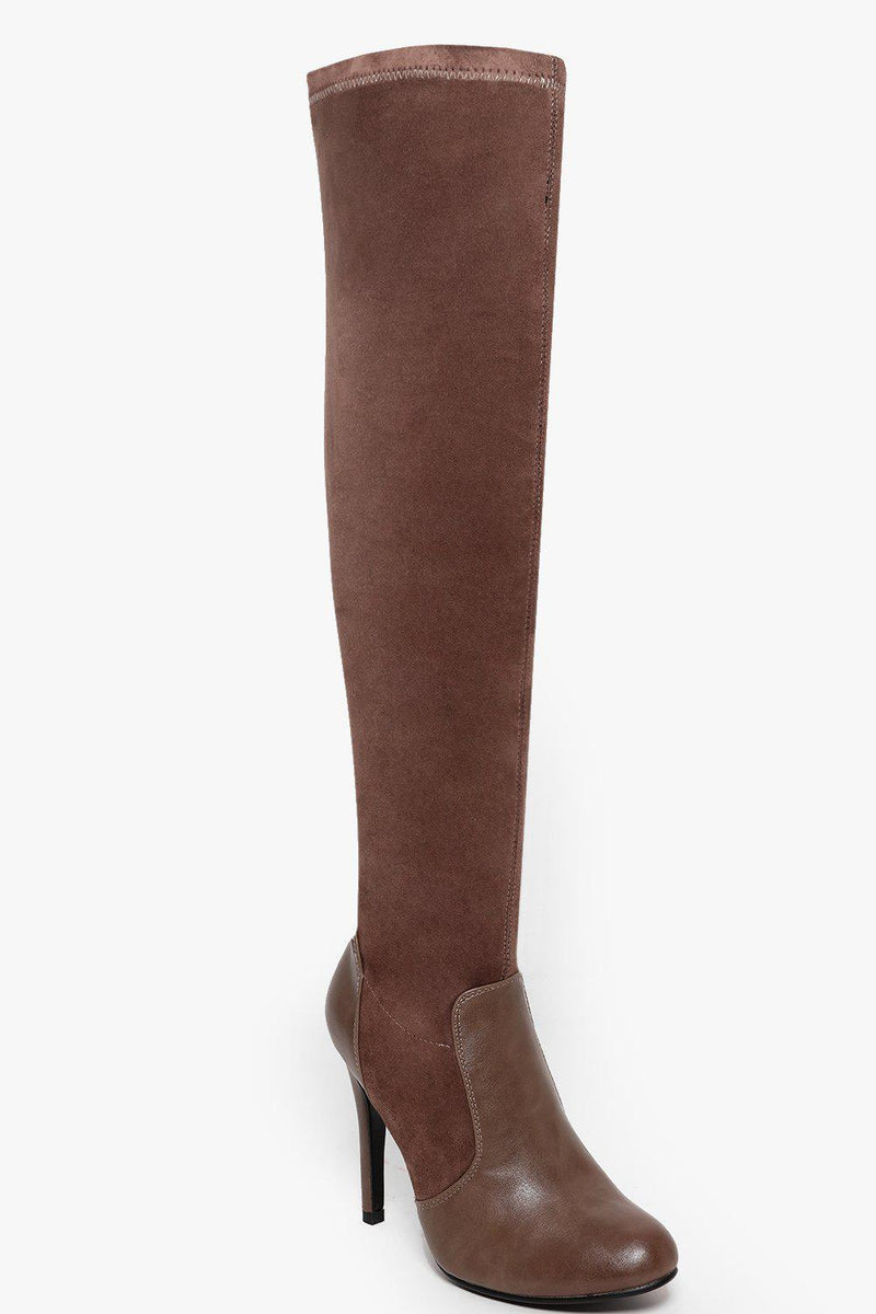 Stretch Suedette Brown Khaki Over The Knee High Heel Boots-SinglePrice
