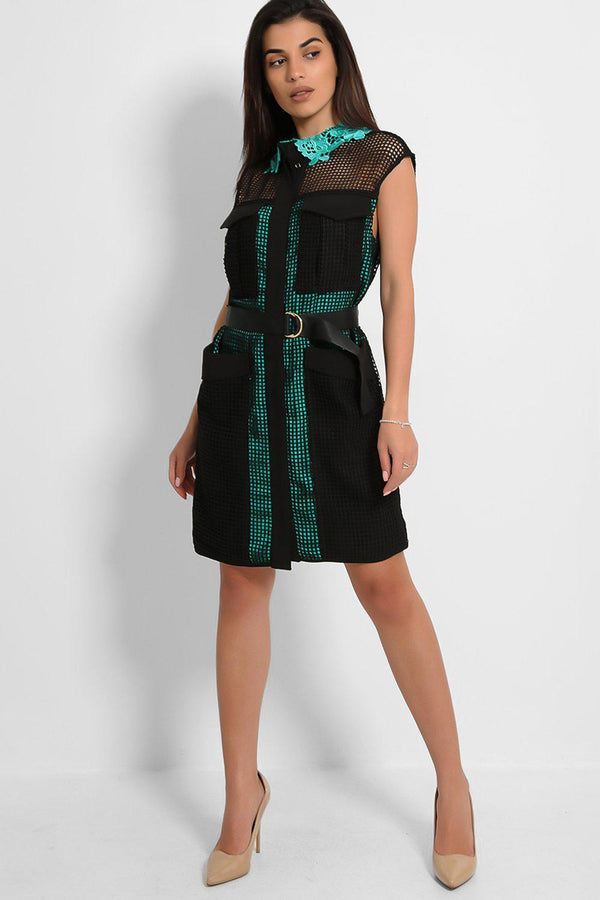 Black Green Net Hidden Placket Shirt Dress-SinglePrice