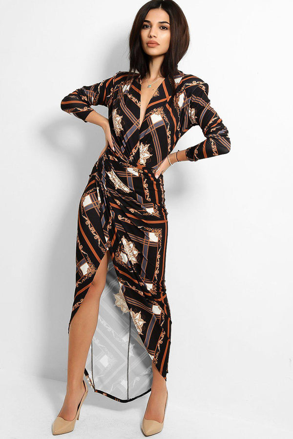 Brown Baroque Print Split Leg Slinky Maxi Dress - SinglePrice