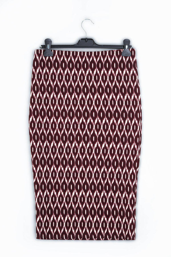 Kaleydoskop Print Purple Midi Pencil Skirt-SinglePrice