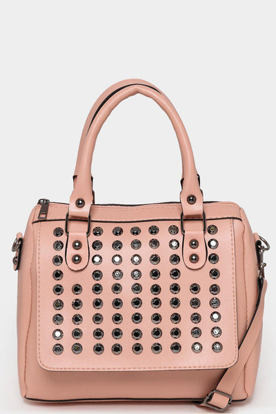 Studded Front Pink Mini Bowler Bag-SinglePrice