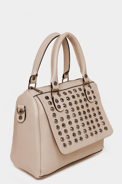 Studded Front Cream Mini Bowler Bag-SinglePrice