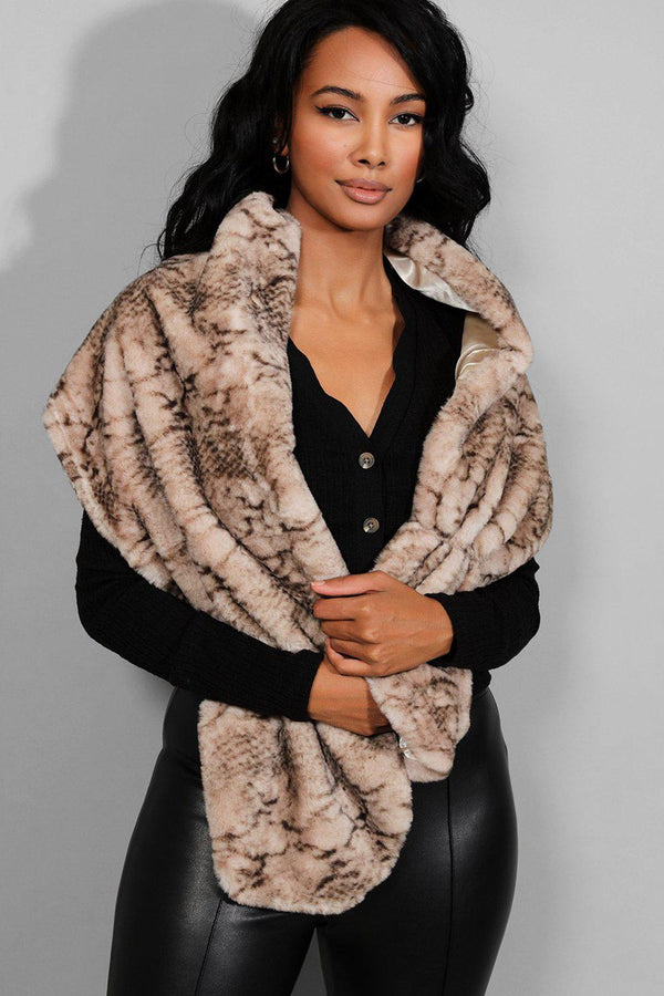 Beige Animal Print Faux Fur Scarf