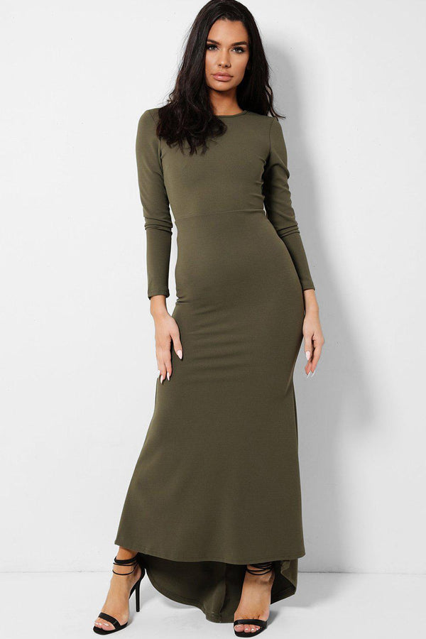 Khaki Keyhole Back Fishtail Dip Hem Maxi Dress