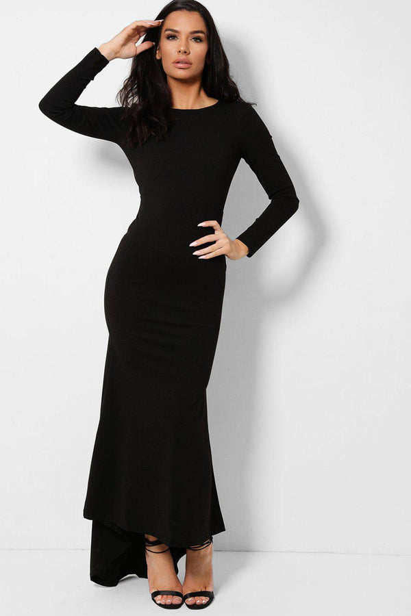 Black Keyhole Back Fishtail Dip Hem Maxi Dress